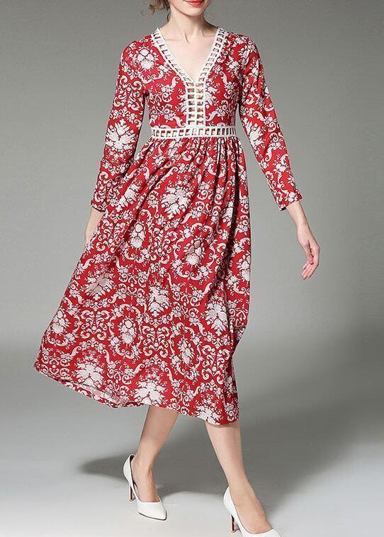 Фото Red V Neck Mesh Print A-Line Dress. Купить с доставкой