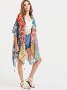 Kimono con estampado con abertura lateral y ribete con borlas - multicolor