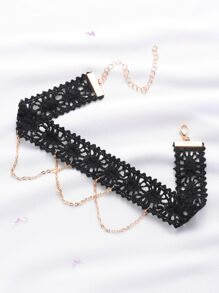 Black Lace Crochet Choker With Chain