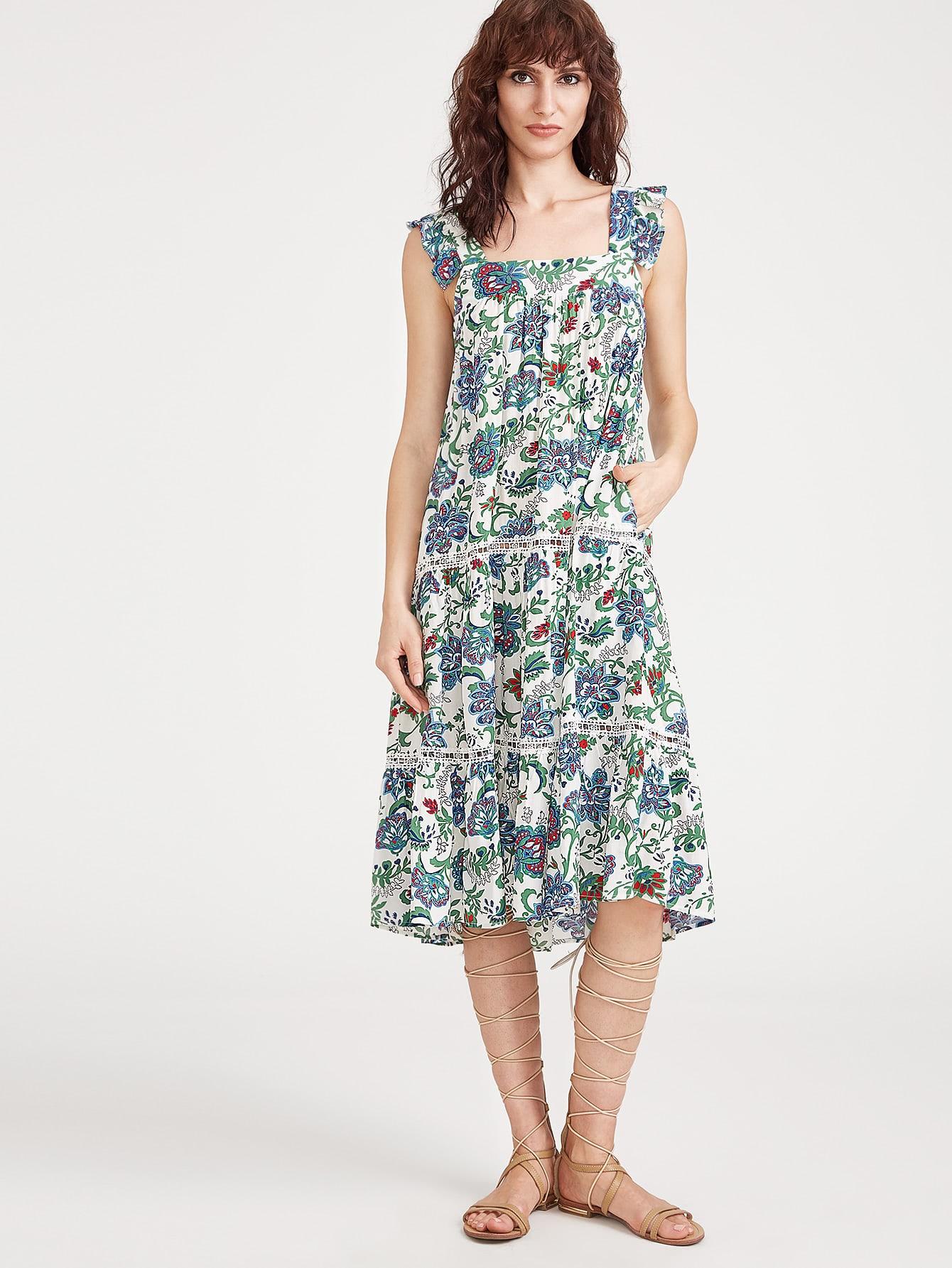 Фото Flower Print Ruffle Strap Lace Insert Dress. Купить с доставкой