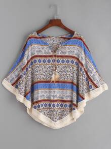 Vintage Print Tie Neck Crochet Hem Cape Top