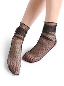 Black Grid Design Sheer Mesh Ankle Socks