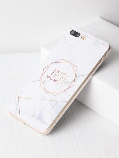 Marble Pattern With Letter Print iPhone 7 Plus Case