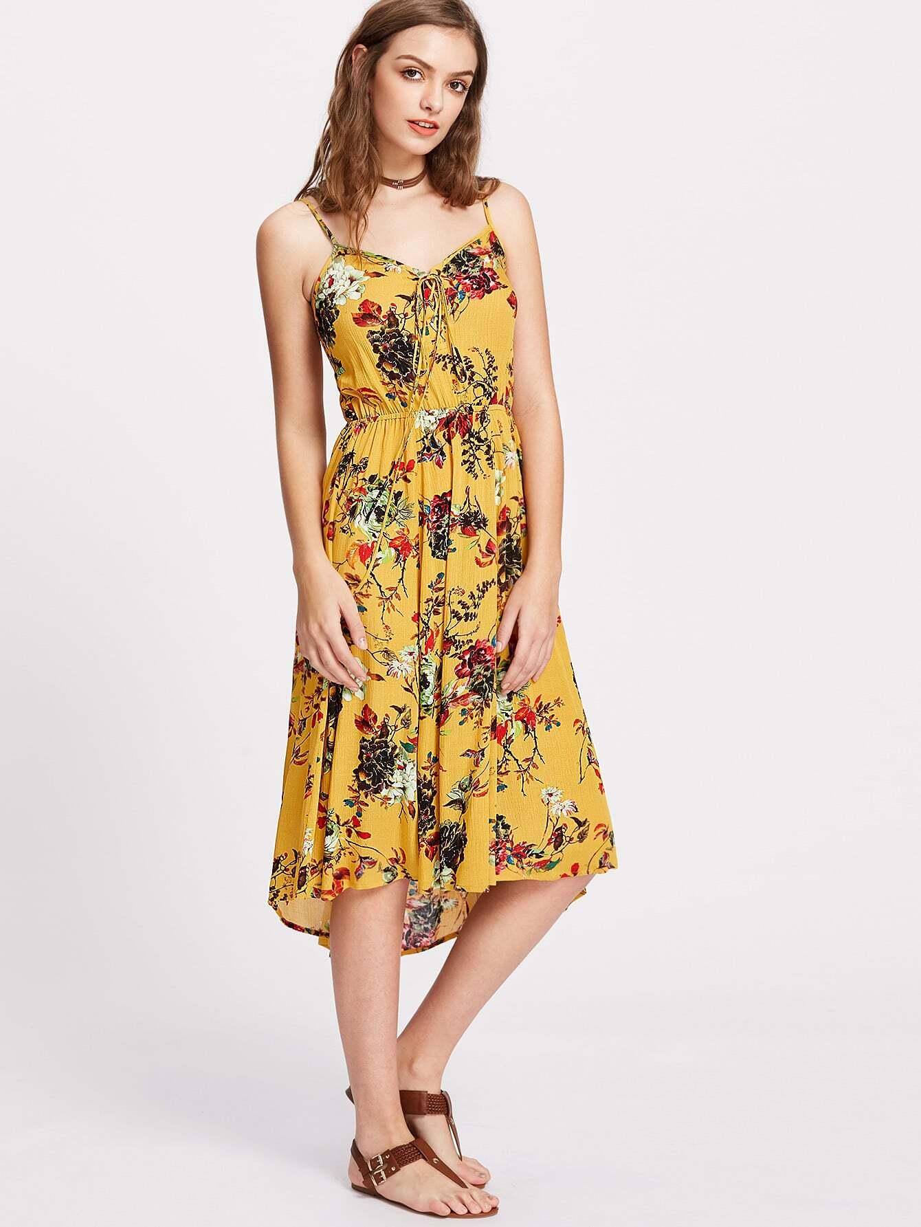Фото Tie Front Shirred Back Floral Cami Dress. Купить с доставкой