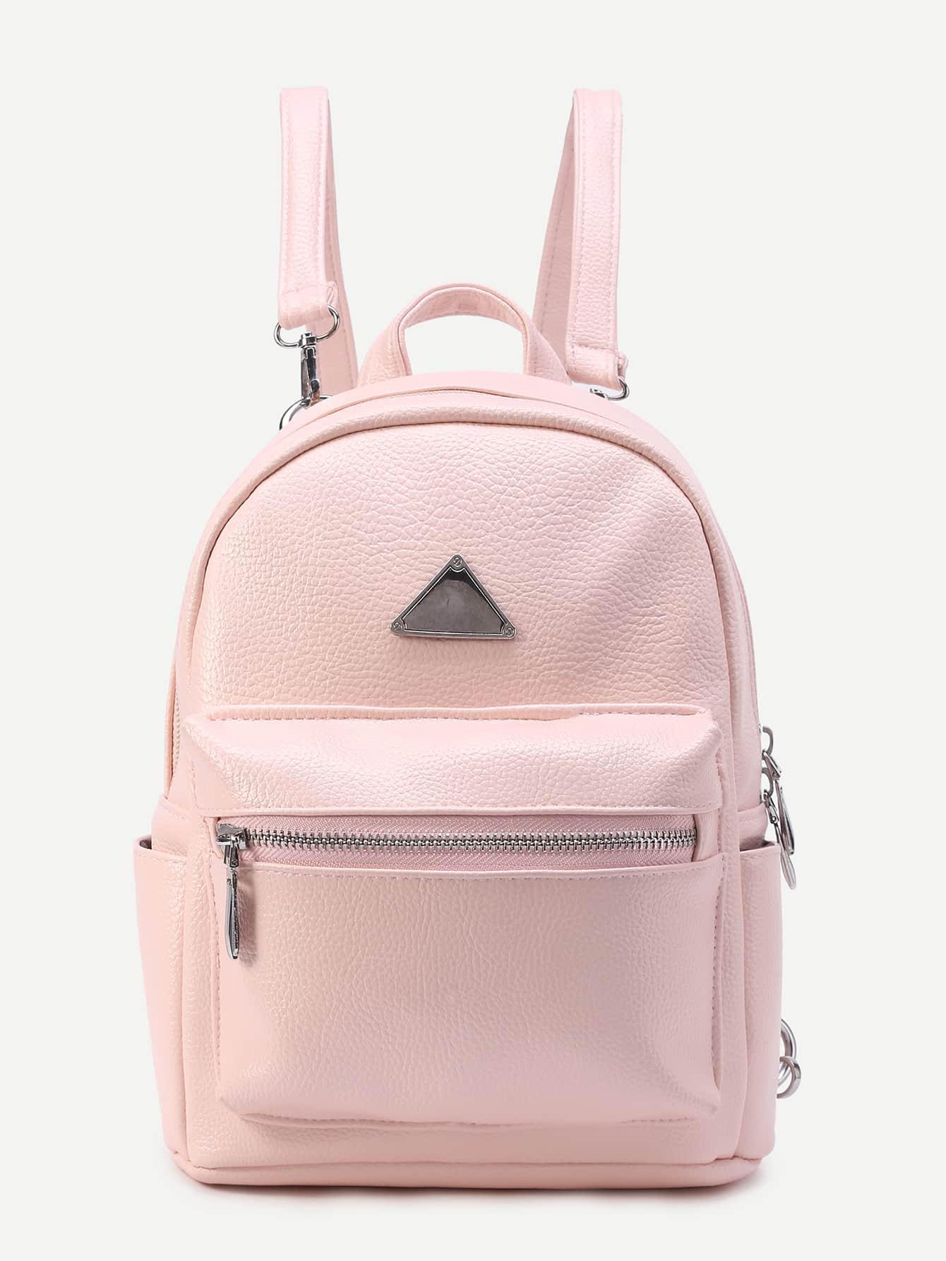 Фото Triangle Detail PU Backpack With Detachable Strap. Купить с доставкой