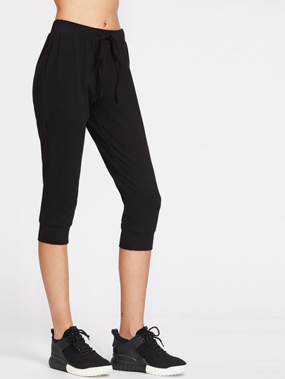 Drawstring Waist Crop Sweatpants