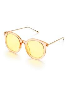 Gold Frame Metal Arm Gold Lens Sunglasses