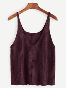 Dark Red V Neck Sweater Vest