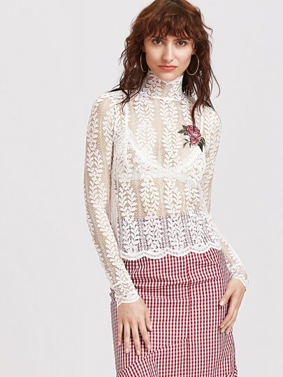 White Stand Collar Embroidered Sheer Lace Blouse