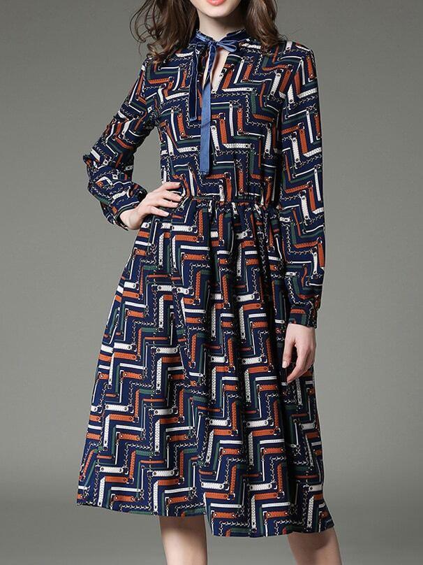 Фото Multicolor Tie Neck Print A-Line Dress. Купить с доставкой
