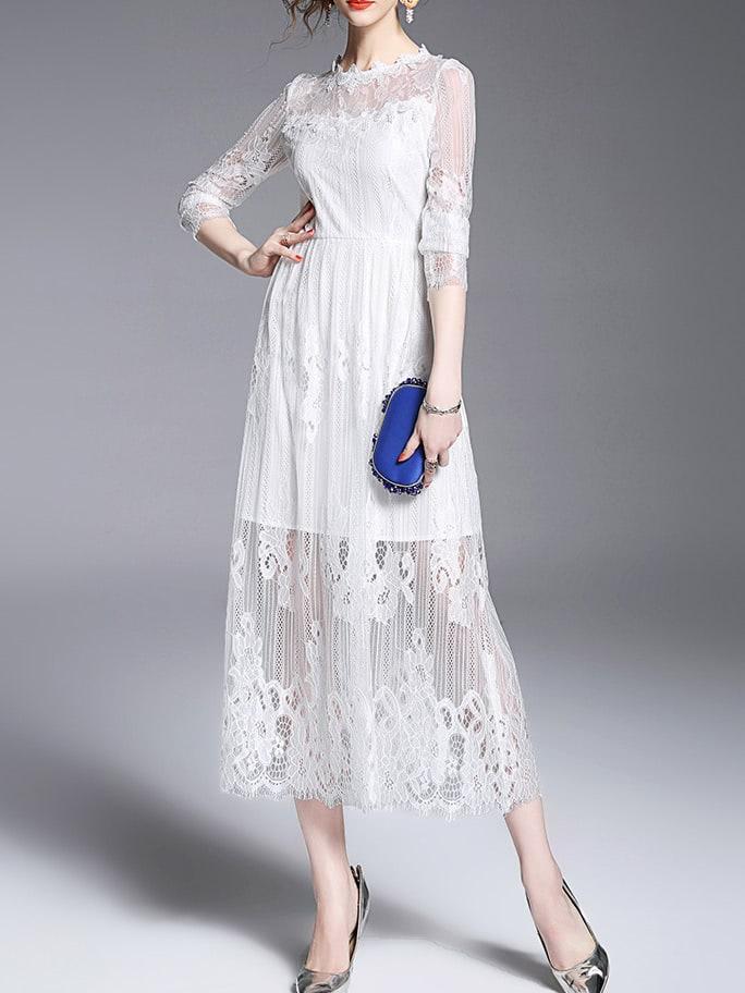 Фото White Sheer Lace Long Sexy Dress. Купить с доставкой