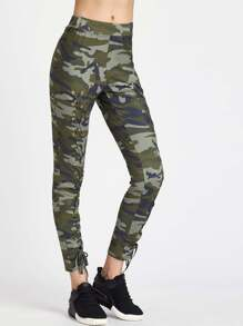 Camouflage Print Eyelet Lace Up Pants