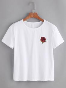 Camiseta de mangas cortas con bordado de rosa - blanco