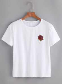 Kurzarm-Shirt mit gesticktem pink - weiß