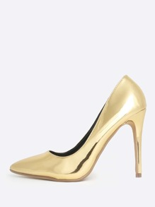 Patent Shine Point Toe Heels GOLD