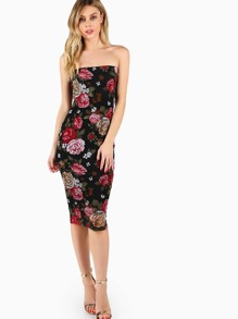 Floral Overlay Bandeau Fitted Dress
