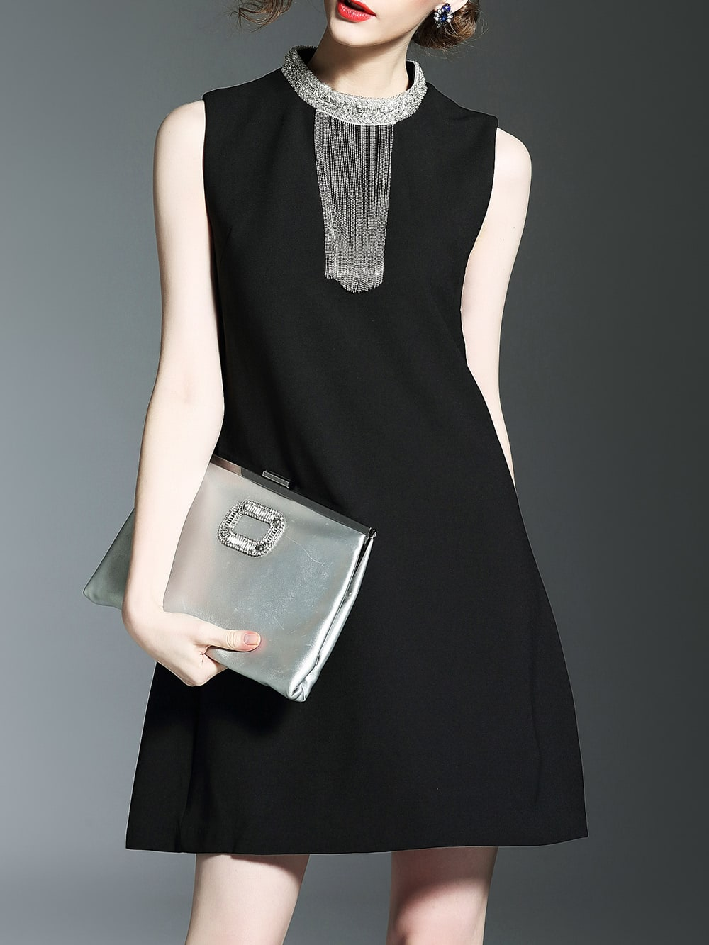 Фото Black Beading Fringe Shift Dress. Купить с доставкой