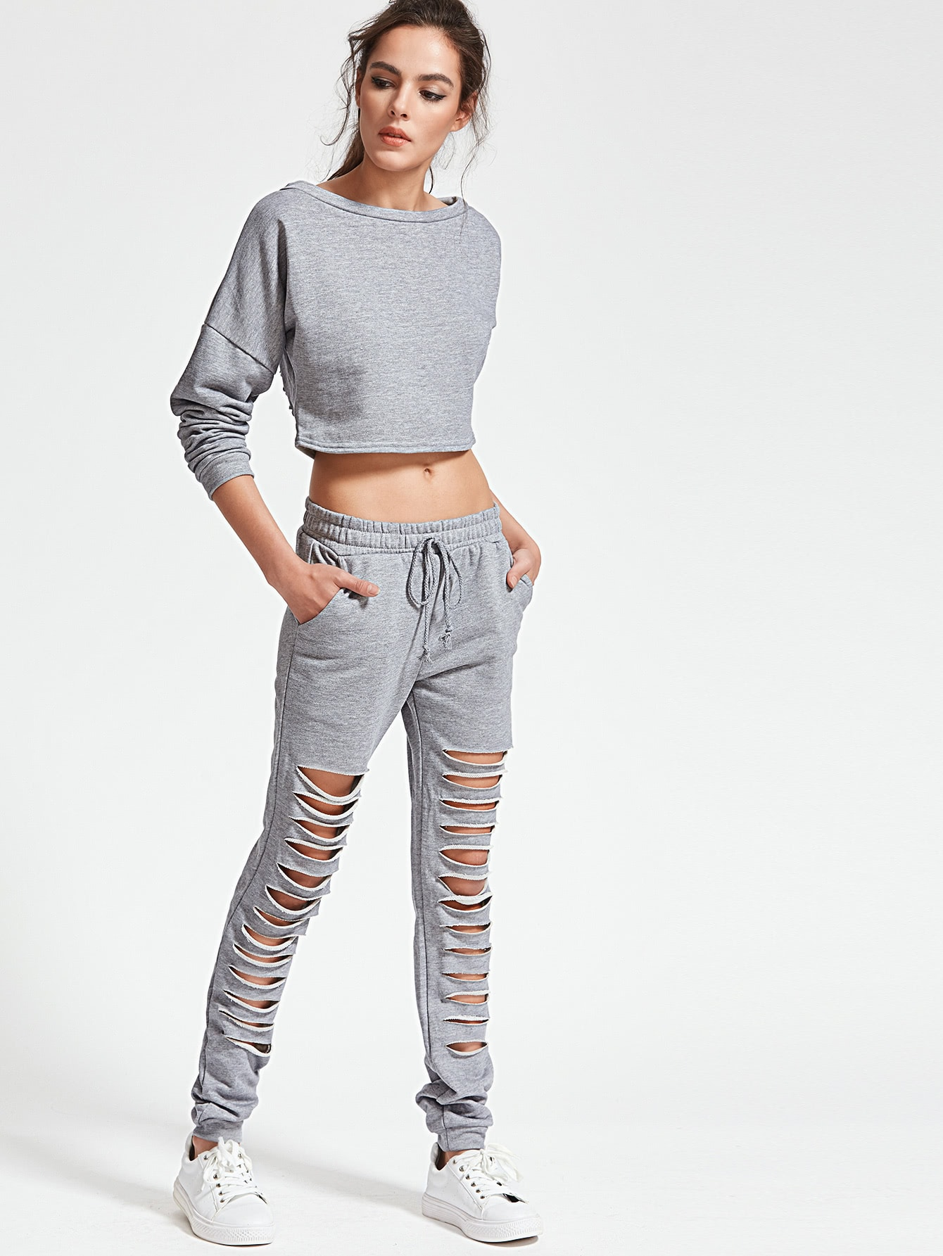 Grey Drop Shoulder Ripped Detail Top With Drawstring Pants