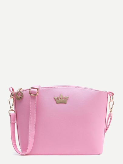 Pink Crown Detail PU Shoulder Bag