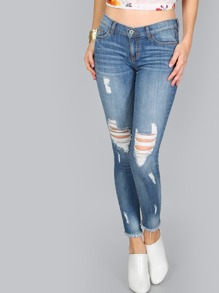 Low Rise Frayed Skinny Jeans DENIM