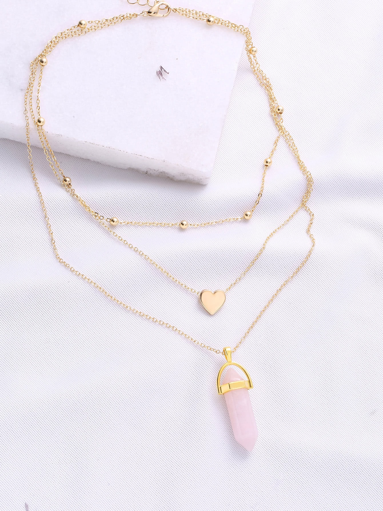 Gold Heart Pendant Layered Chain Necklace rhinestone heart chain pendant necklace