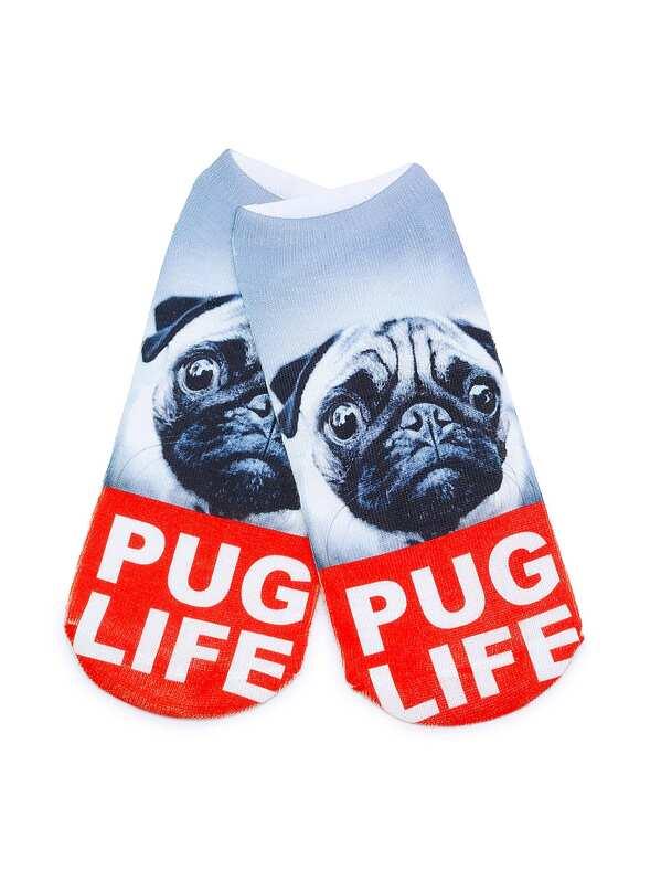 White Dog Print Ankle Socks, null