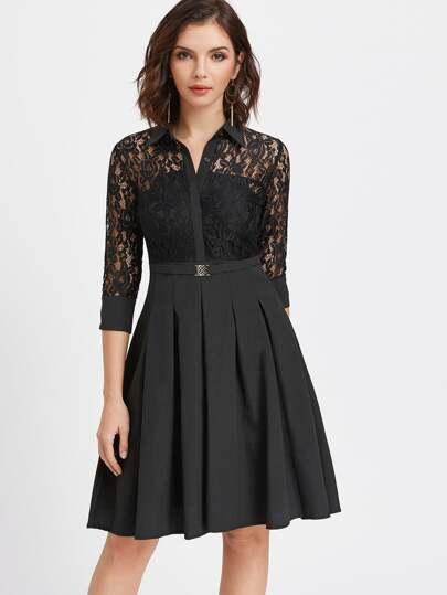Black Contrast Floral Lace Shirt Dress