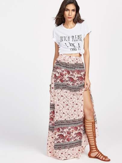 Falda larga con estampado floral y abertura