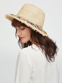 Beige Raw bordo cappello di paglia con nappa colorata