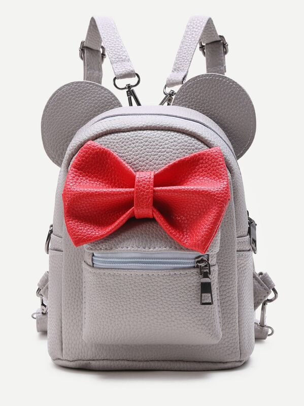 Grey Ear Shaped PU Backpack With Contrast Bow, null