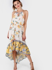 Floral Chiffon High Low Dress YELLOW