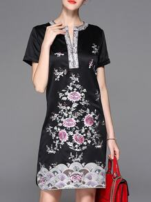 Black V Neck Flowers Embroidered Sheath Dress