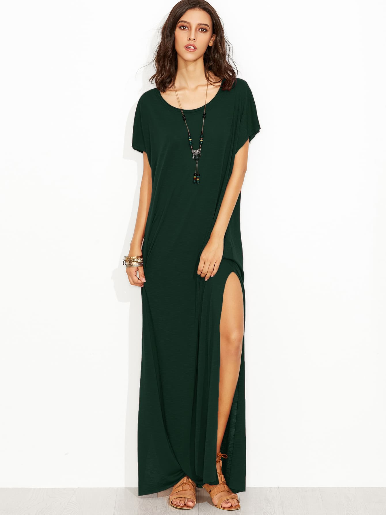 Scoop Neck High Slit Slub Tee Dress full length slub tee dress