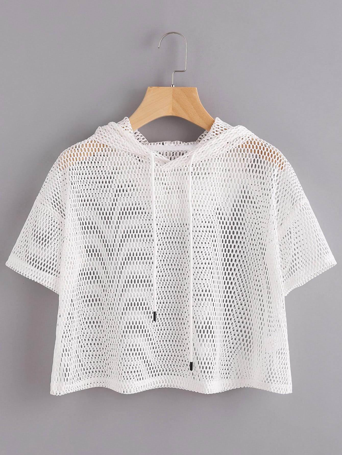 Drop Shoulder Crop Fishnet Hooded T-shirt drop shoulder water color crop sweatshirt