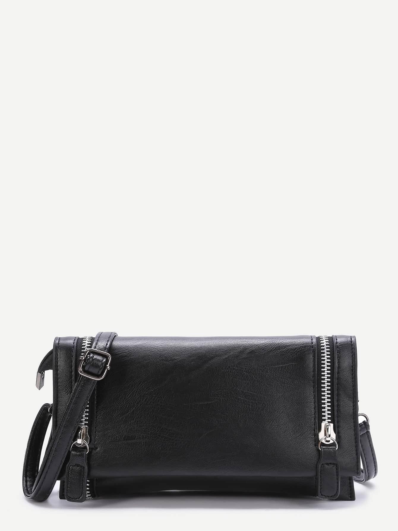 Фото Black Zipper Fold Over PU Shoulder Bag. Купить с доставкой