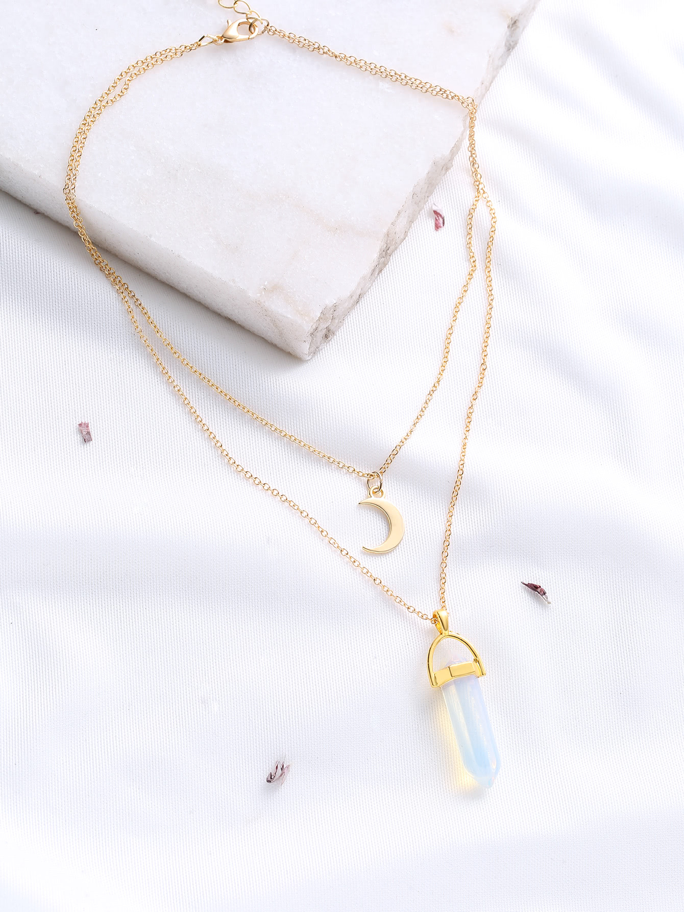 Gold Crystal And Crescent Pendant Layered Necklace vostok 420892 восток