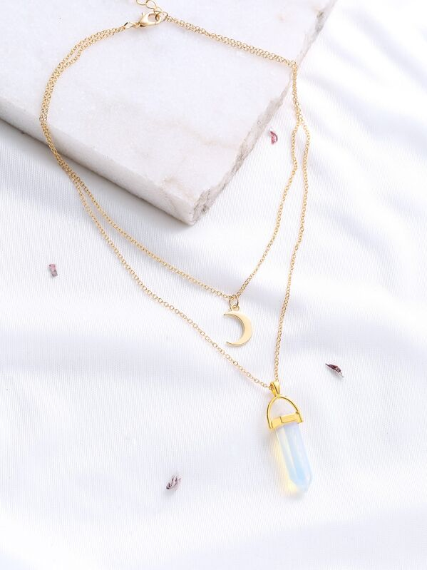 Gold Crystal And Crescent Pendant Layered Necklace, null