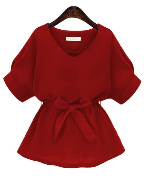 Red V Neck Self Tie Blouse blouse170314105