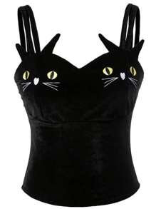 Cat Embroidery Velvet Strappy Top