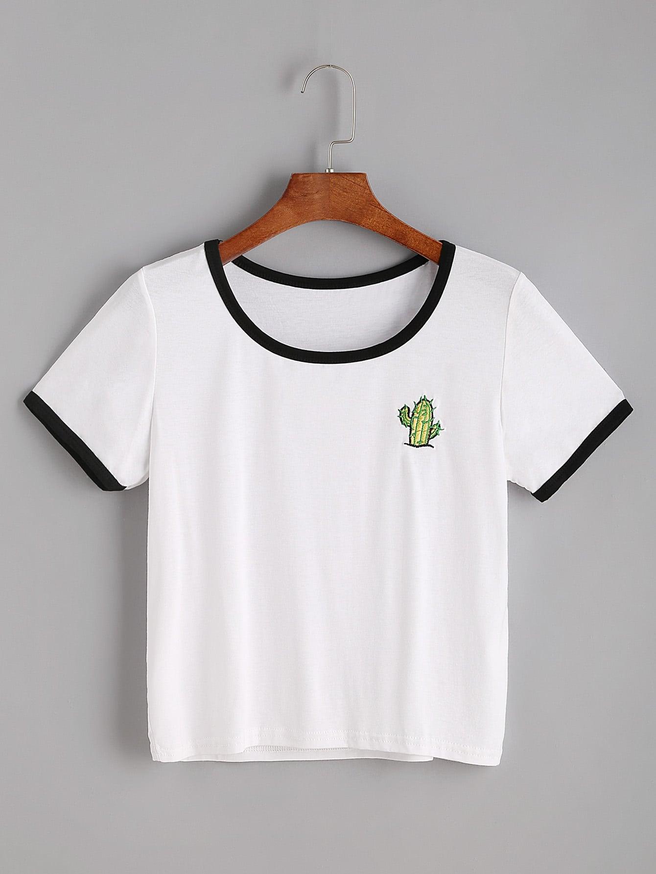 Фото Cactaceae Embroidered Ringer T-shirt. Купить с доставкой
