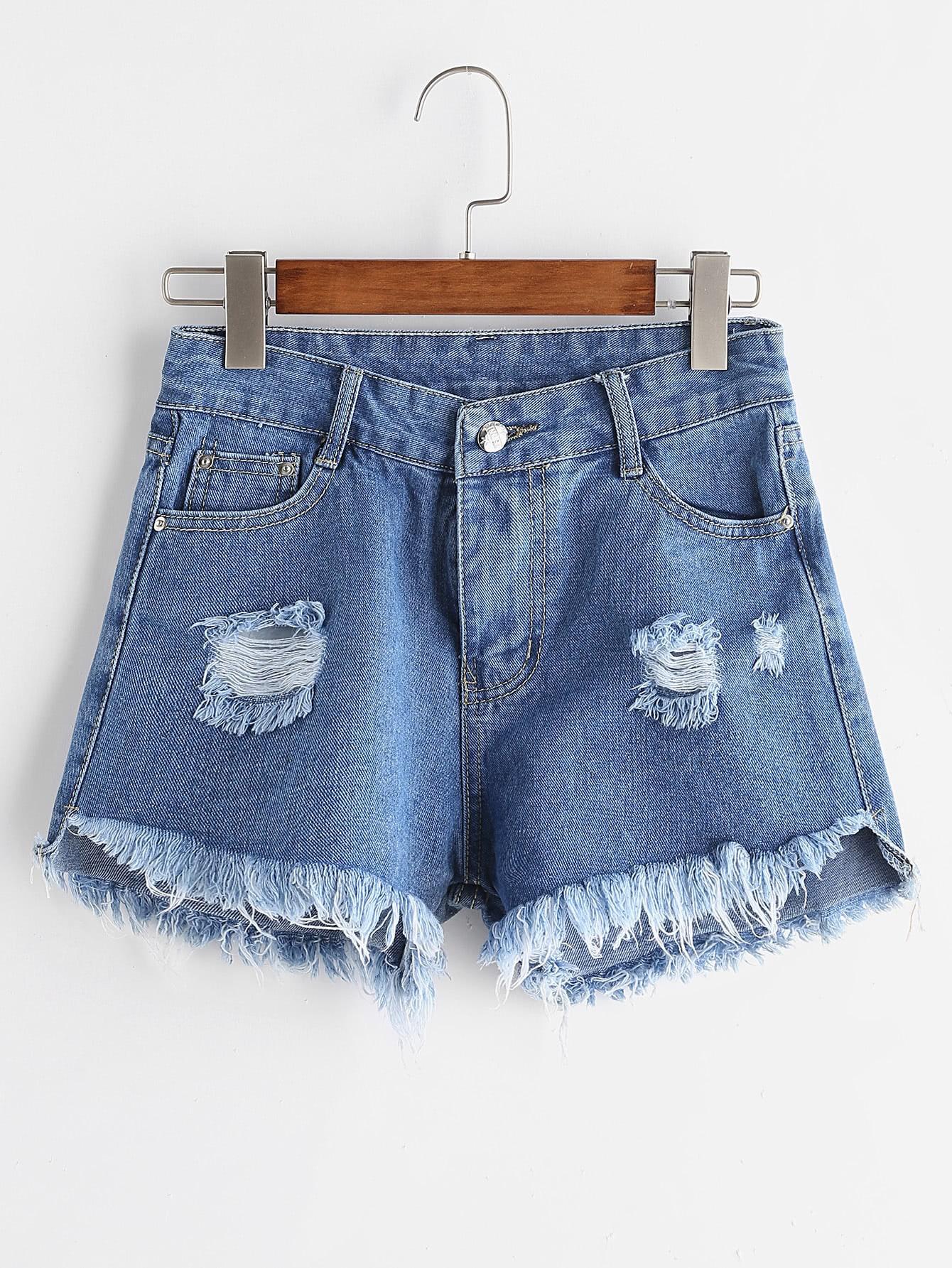 Фото Distressed Raw Hem Denim Shorts. Купить с доставкой