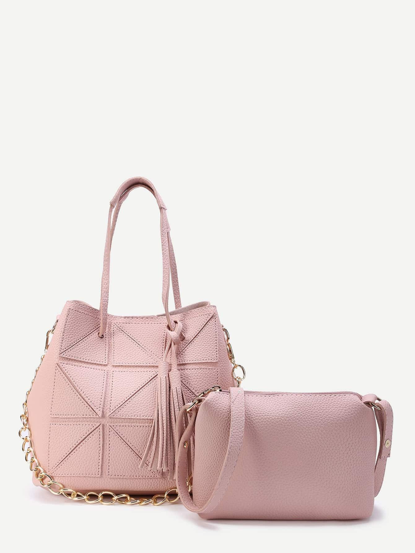 Фото Quilted Tote Bag With Crossbody Bag. Купить с доставкой