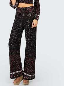 Floral Flow Bell Bottoms BLACK MULTI