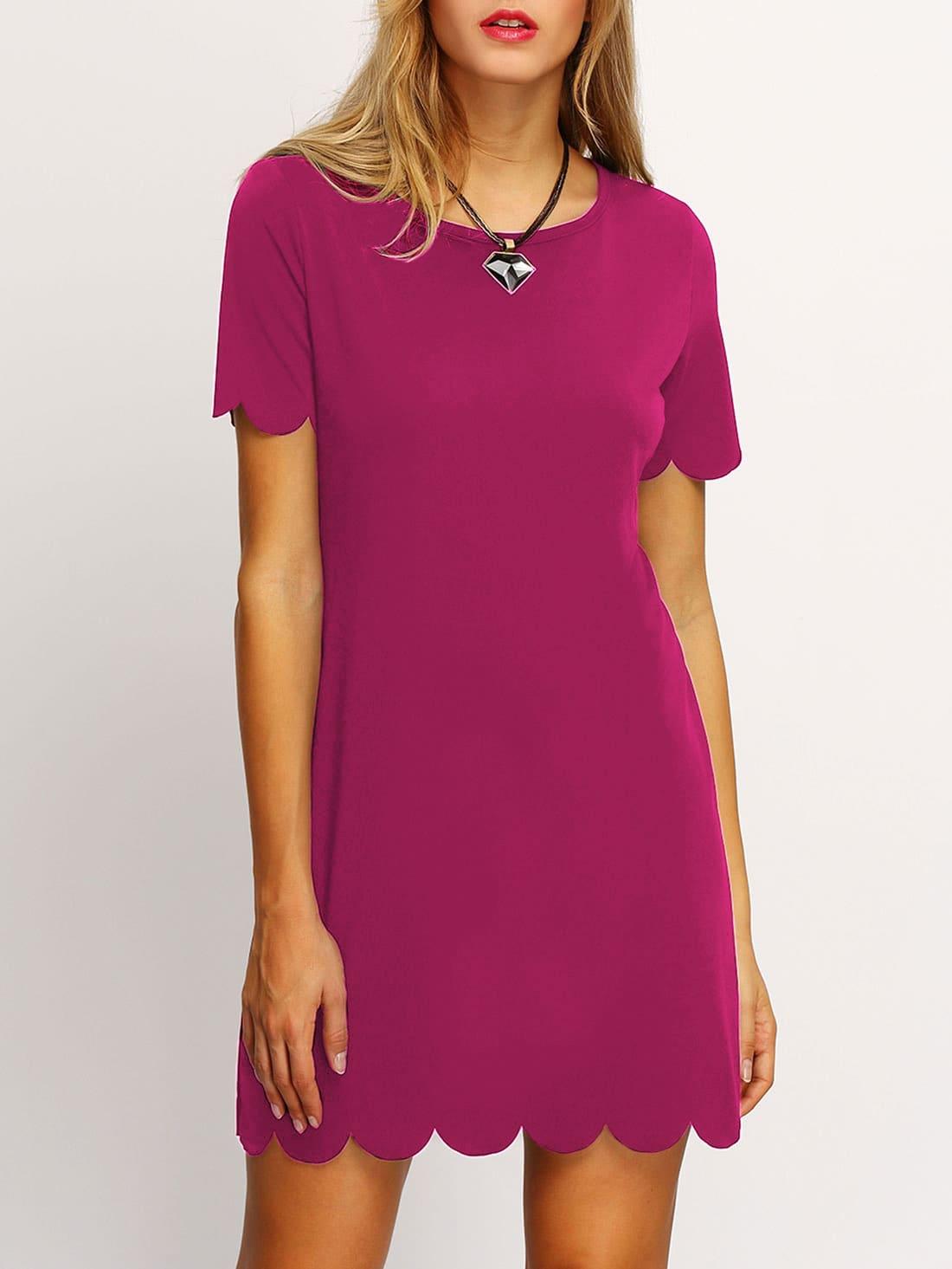 Купить Ярко-розовое модное платье с фестонами, Laura, SheIn