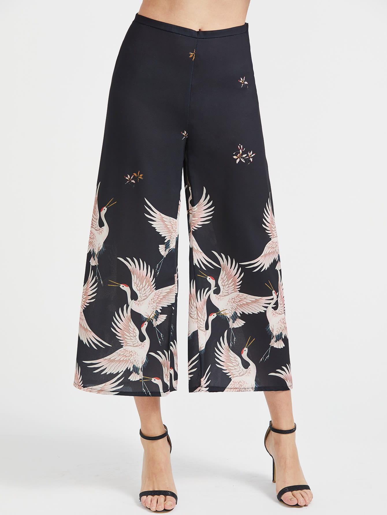 Image of Crane Print Wide Leg Pants