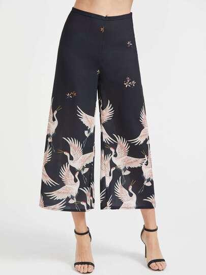 Pantaloni con fondo ampio con stampa di crane, nero