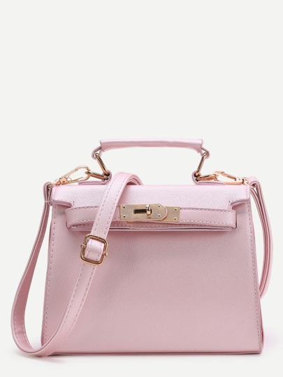 Pink PU Satchel Bag With Handle