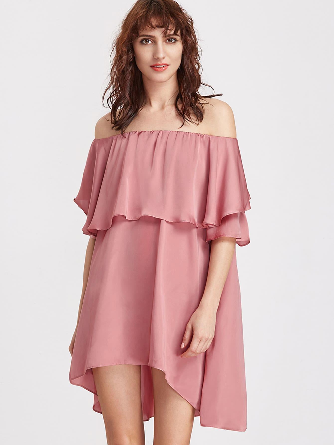 Фото Pink Off The Shoulder High Low Ruffle Dress. Купить с доставкой