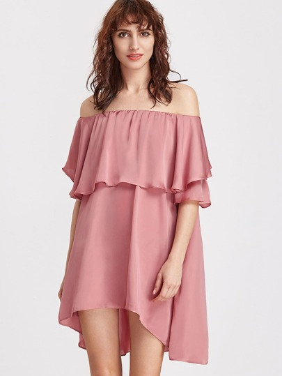 Pink Off The Shoulder High Low Ruffle Dress