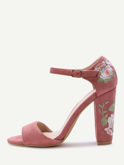Pink Flower Embroidery Chunky Heel Sandals